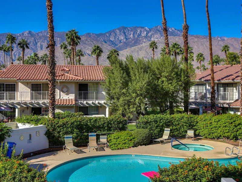 Spectacular balcony view of pool & Mt San Jacinto from living room & master bed