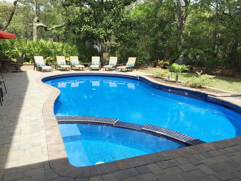 Lovely Palmetto Dunes home on lagoon with large pool and spa, FREE KAYAK, vacation rental in Bluffton