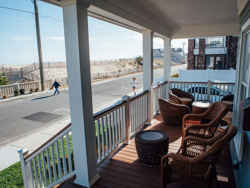Front deck on East Av with beach across the street