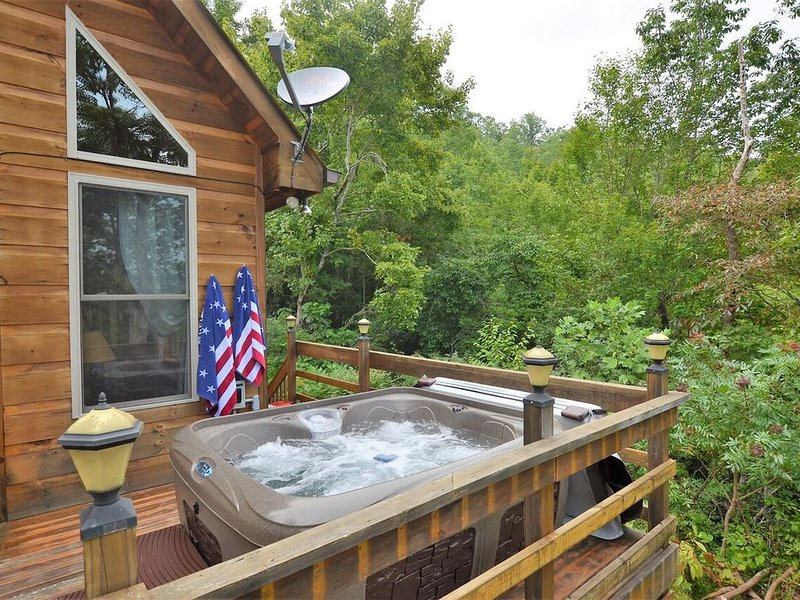 Beautiful, pet friendly secluded cabin with fire place and hot tub., alquiler de vacaciones en Robbinsville