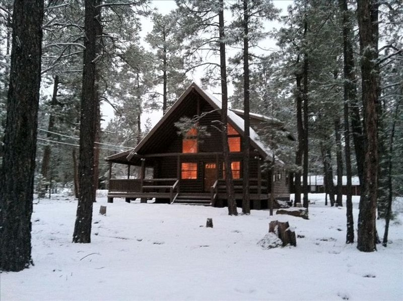 Custom log cabin, backs to National forest in Pinetop CC, very private-remodeled, location de vacances à Vernon