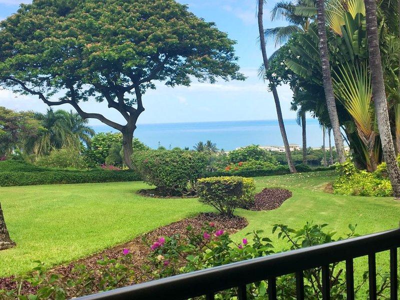 Million Dollar Ocean & Golf Course Views from this beautiful 2 bed 2 bath Condo, aluguéis de temporada em Wailea