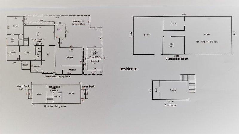 Plano de planta: casa principal (planta baja y planta alta), lavandería, casa de huéspedes y casa barco