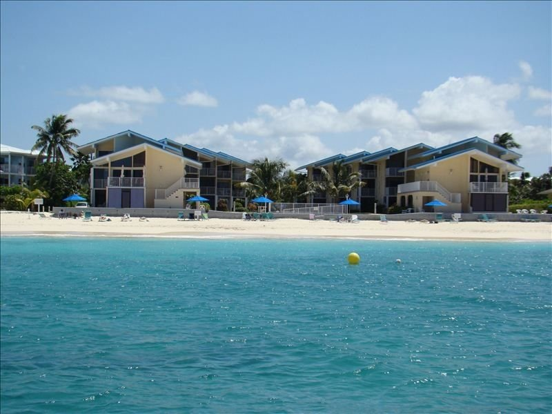 This is a view of Cayman Reef Resort from the sea.