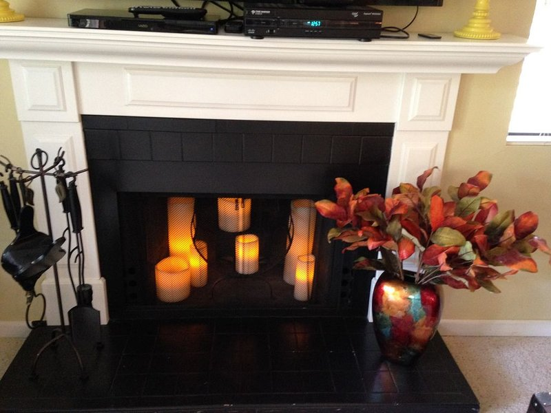 candlelit fireplace