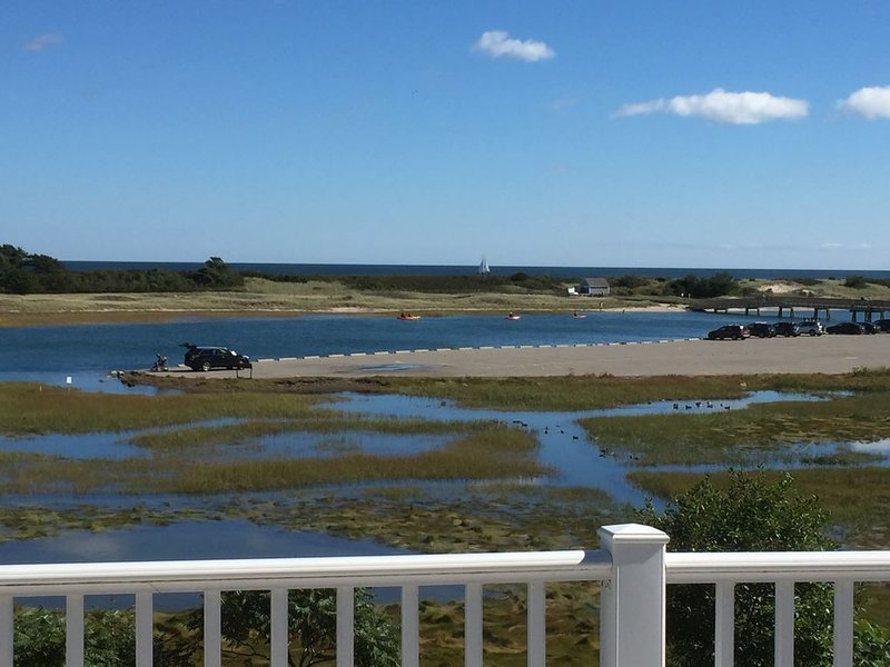 On the water at Footbridge Beach; View of the Footbridge, steps to the beach., holiday rental in Ogunquit