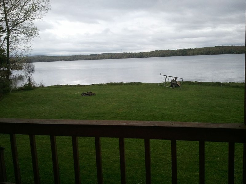 View of lake from covered porch
