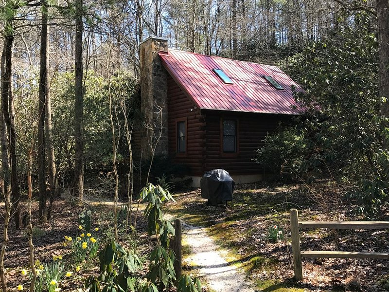 Secluded Log Cabin on creek; near Helen, Anna Ruby Falls and Unicoi; NO FEES, holiday rental in Sautee Nacoochee