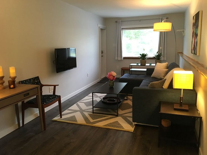 Enter the living room with Article double sofa bed and TV w/ Apple TV & Netflix