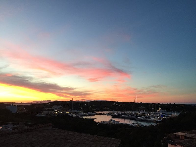Sunset view from the rooftop terrace