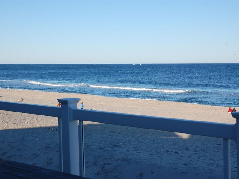 View of the beach from the deck