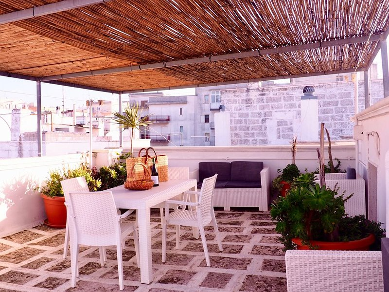 Beautiful rooftop terrace with views of the Adriatic Sea and olive groves