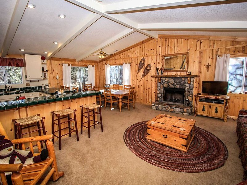 Angel's Camp Retreat~Cozy Furnishings & Fireplace~Equipped Kitchen~Pets Ok, vacation rental in Big Bear City