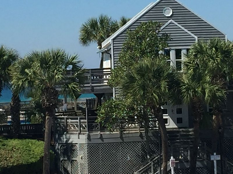 Gulfside Clubhouse and pool with view of gulf taken from Funseeker balcony