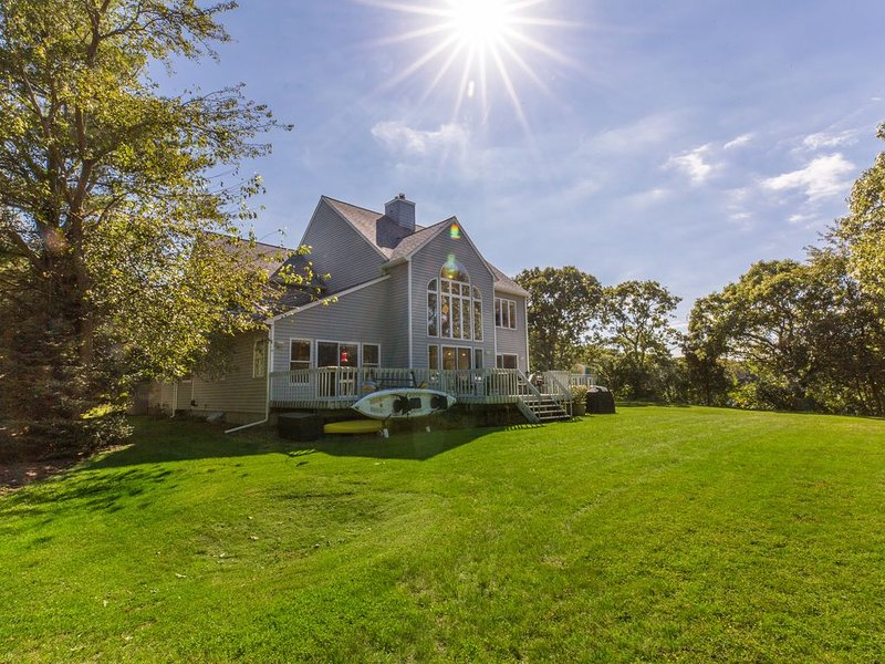 Waterfront on 1 acre, private beach, walk to town, vacation rental in Southold