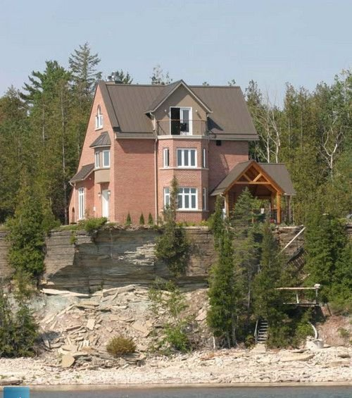 Looking at cottage from Bay
