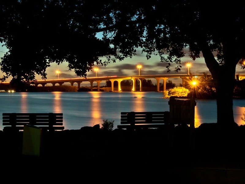 Beautiful picture at night of the bridge coming from Vero Beach to the Island!