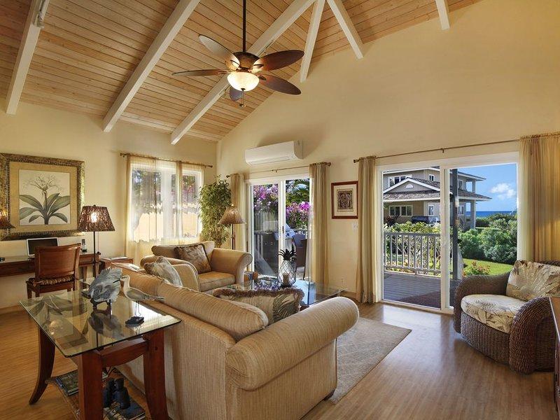 Spacious, ocean view living room.