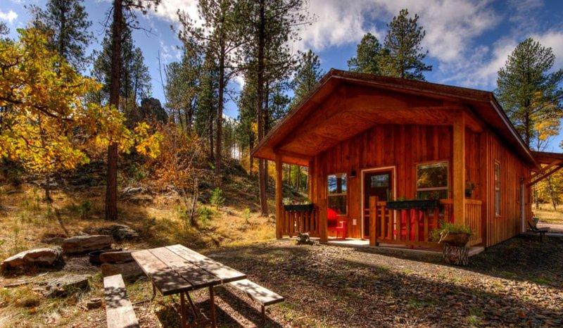 A cabine está situada entre as árvores em um ambiente de montanha, assentos ao ar livre