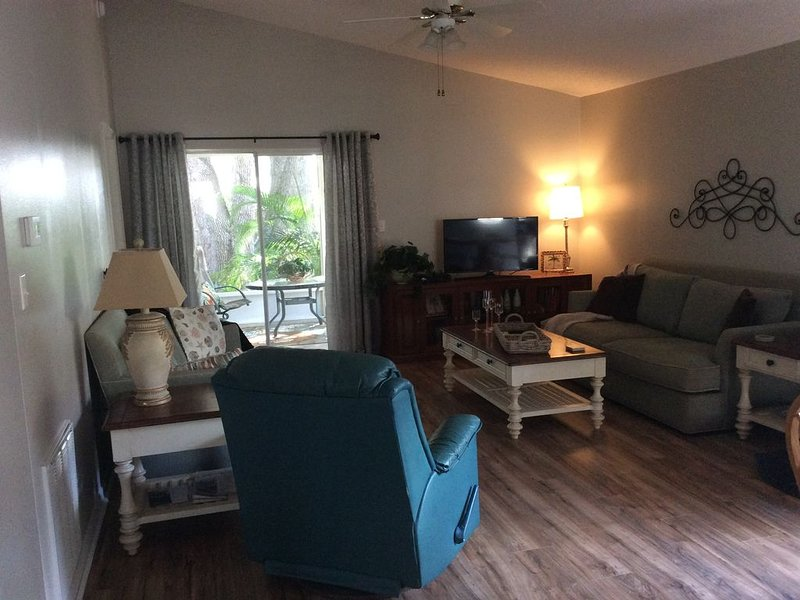 Living room comfort with fresh paint and new flooring!