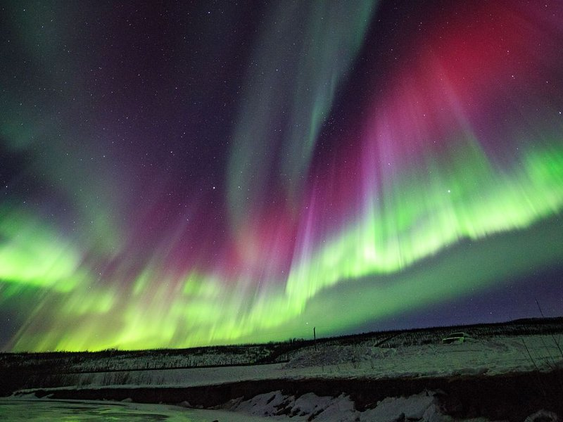 Spectacular auroras in Fairbanks during winter months.  Photo by Mike Hostager.