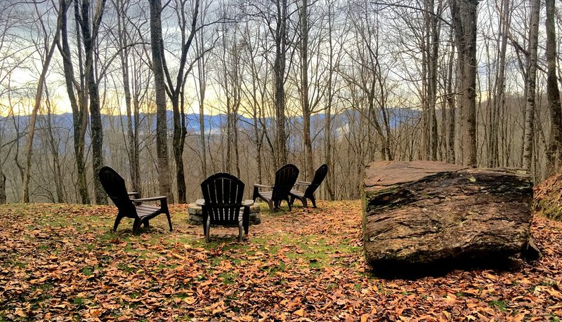 Fall/Winter view from firepit at sundown, enjoying the sounds of nature.