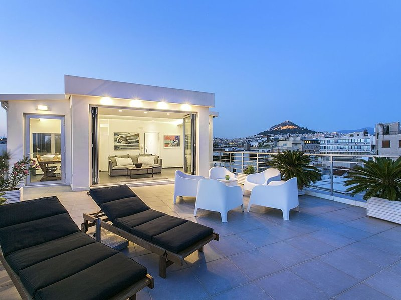 Large private Terrace overlooking Lycabettus Hill and the city of Athens.