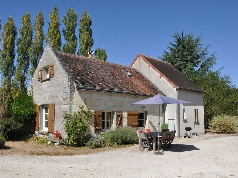 Holiday home near Montrichard (2 km) with shared swimming pool in an oasis of pe, holiday rental in Bourre