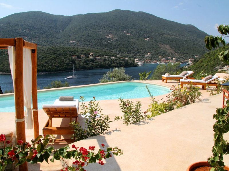A stone-built traditional villa with private pool and outstanding sea view., holiday rental in Sivota