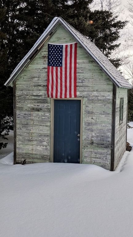 Outside shed in the winter