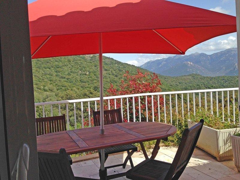 East terrace with umbrella