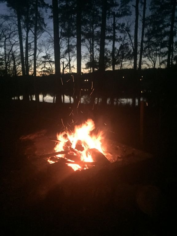 A little fire and setting sun