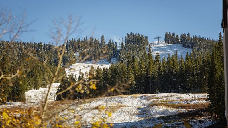 View up along the American Eagle lift in the fall.