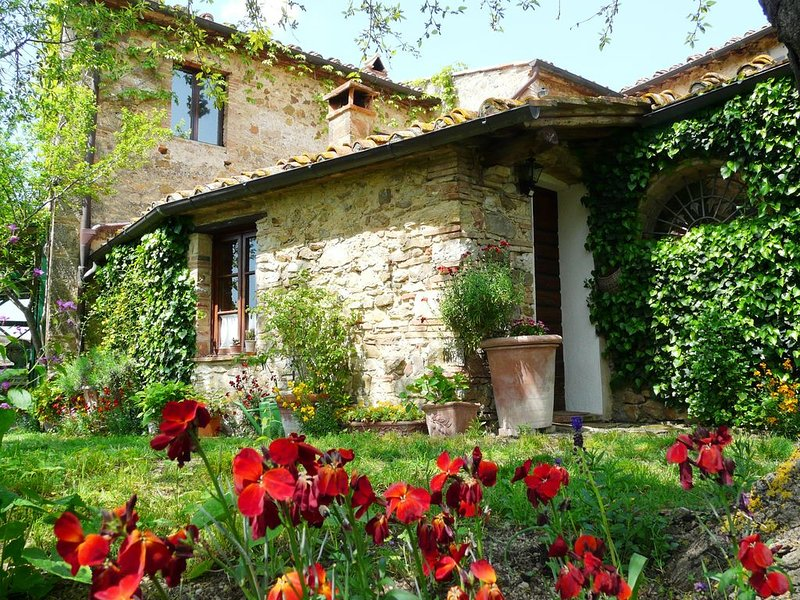 Lovely cottage in Chianti, on Tuscan organic ecoturismo with pool & sunset views, vacation rental in Castellina In Chianti