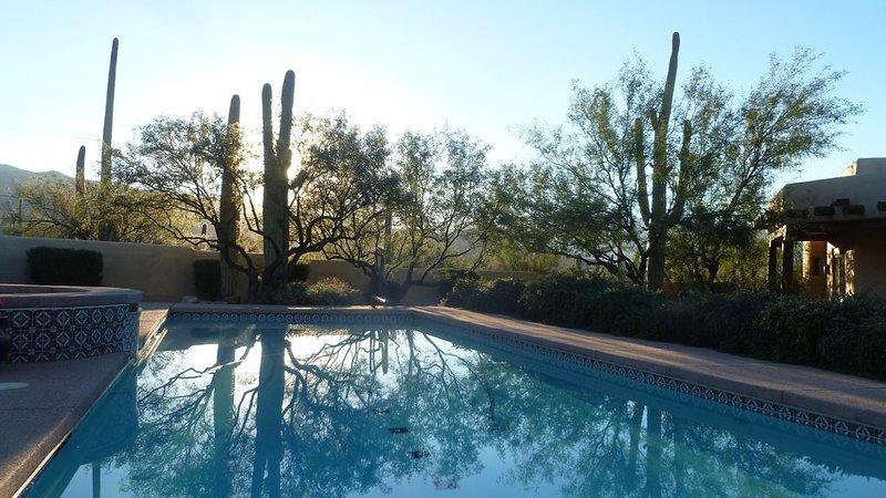 Morning sun at the pool