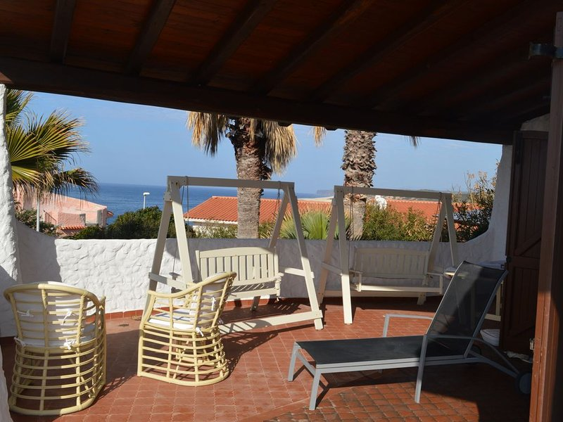 House of  Gelsomini 50 metrs from the beach with fantastic terrace with sea view, holiday rental in Putzu Idu