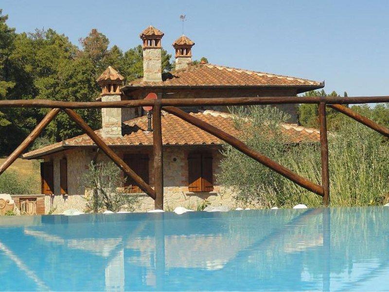 Villa immersa tra alberi di olivo e verdi boschi sulle colline senesi a pochi pa, vacation rental in Amorosa