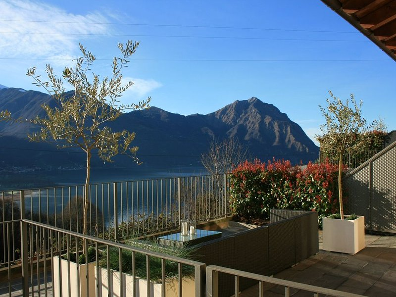 Fantastic pool house overlooking the Iseo., holiday rental in Bossico