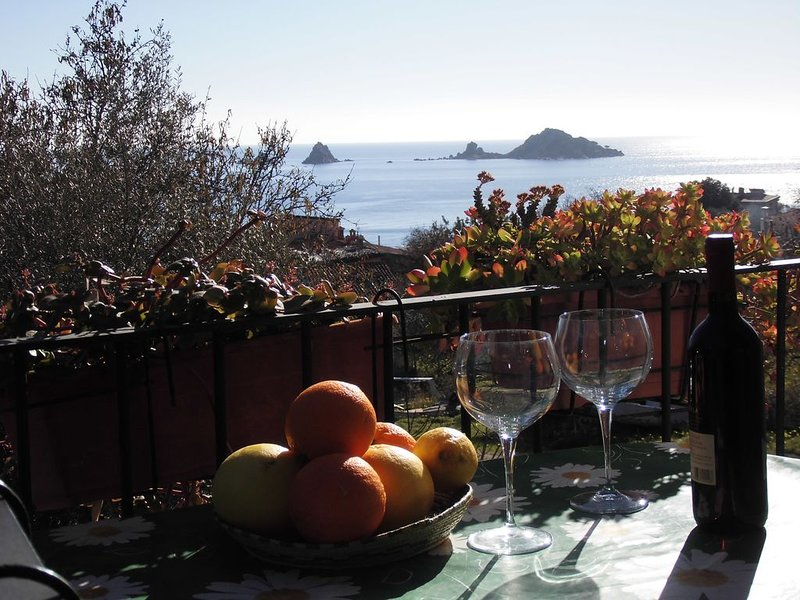 Our terrace with a beautiful view to the S'Isola de Ogliastra.