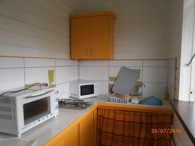 Cocina totalmente equipada: horno microondas nevera-congelador.