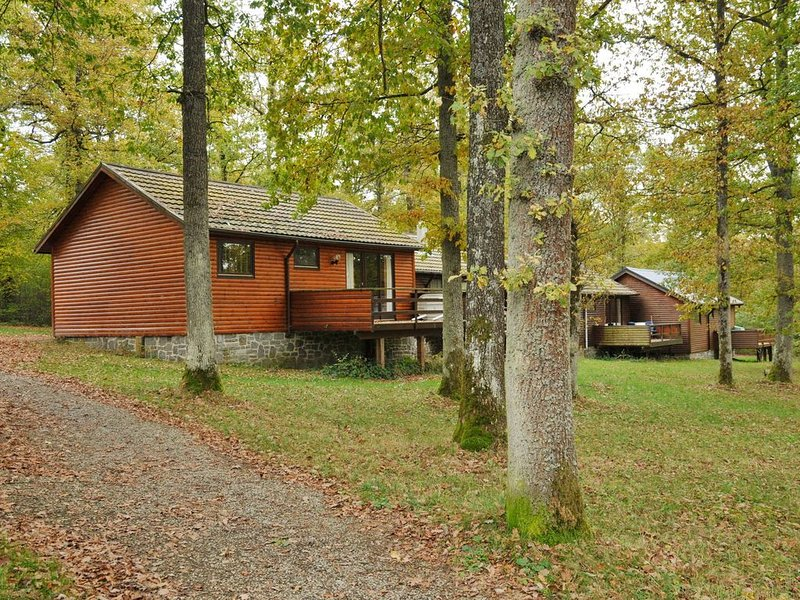 Cozy, wooden chalet with deck, just 15 km. from Durbuy, location de vacances à Hamois