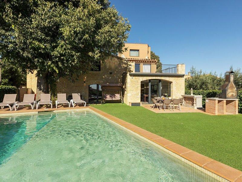 Casa de piedra con jardín privado, piscina, jacuzzi, barbacoa, futbolín y billar, casa vacanza a Bascara