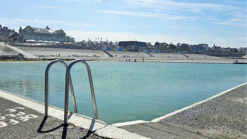 Beach sea water pool Casino Saint Pair sur mer