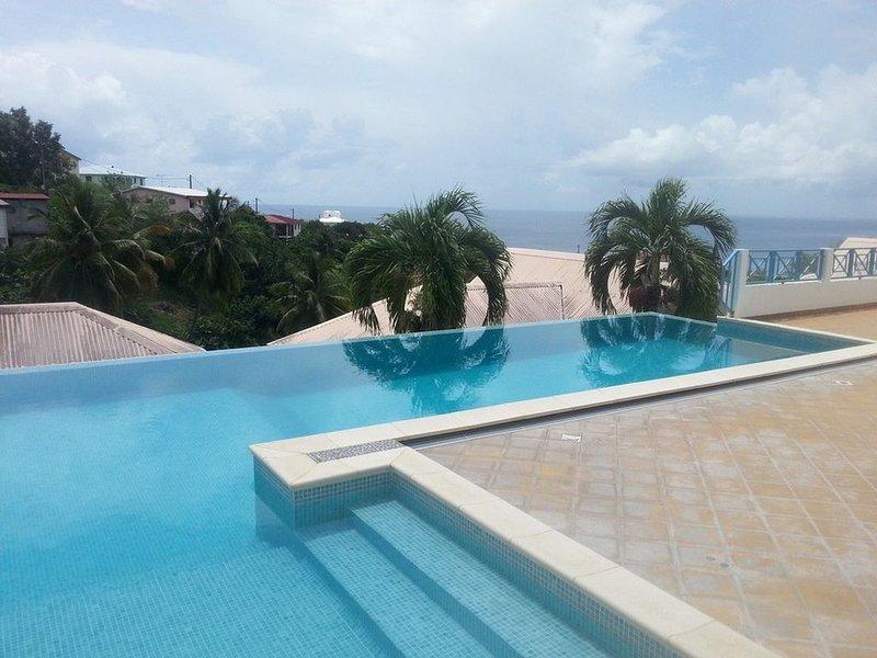 F2 vue Panoramique vue sur mer, montagne et la piscine de la résidence, holiday rental in Le Precheur