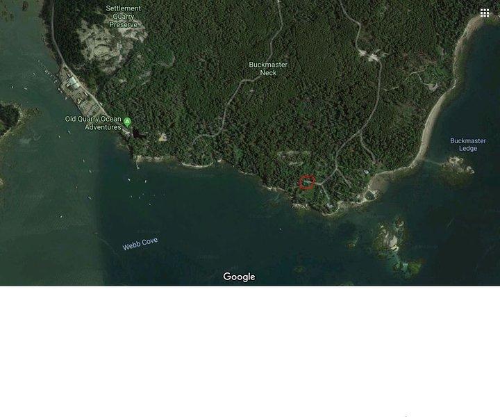 Le chalet indiqué sur le satellite Google Maps. Vue sur l'océan!