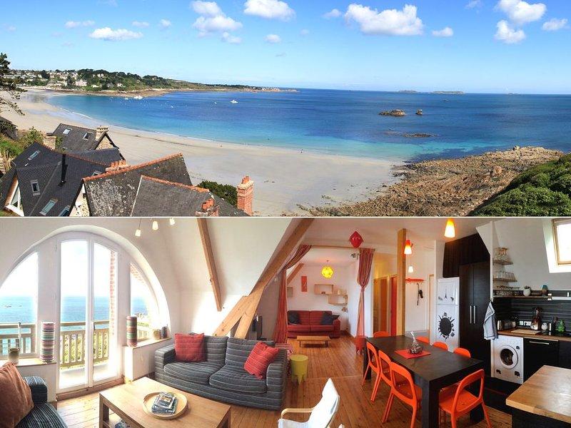 Appartement Perros-guirec 6-8 personnes superbe vue mer tout confort, location de vacances à Perros-Guirec