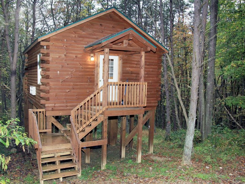 Cabin that sleeps 2 with a hot tub out in the woods!, vacation rental in Logan
