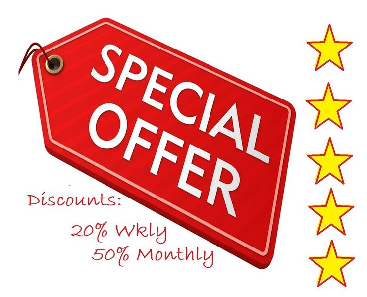 20% Weekly Discount 50% Monthly Discount No 8% TOT tax on more than 31 days