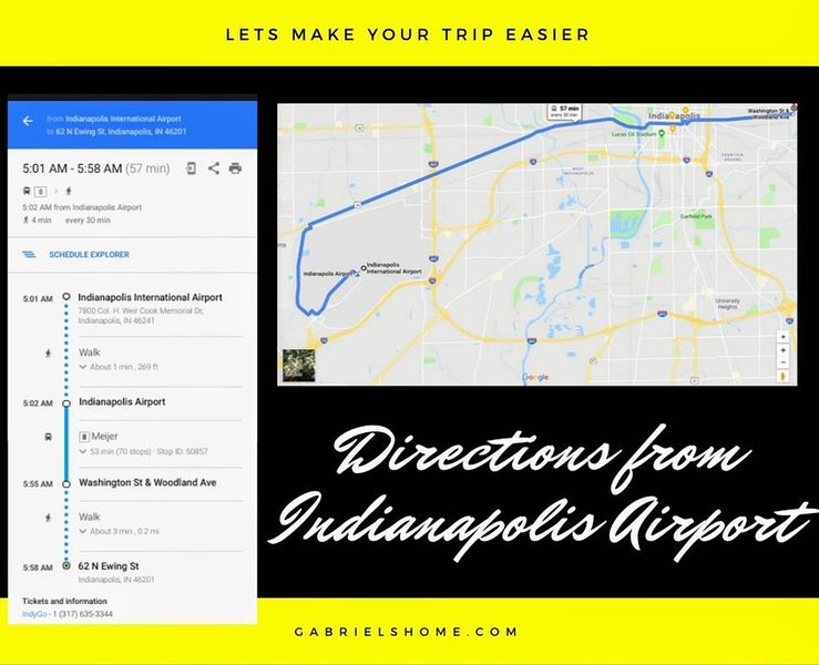 Directions to the Tiger Apartment from the Indianapolis International Airport