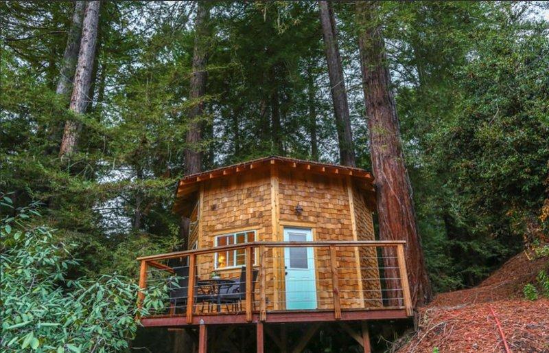Esta é uma cabine inspirada em yurt de 8 faces, construída sobre uma plataforma de 10 pés acima do solo.